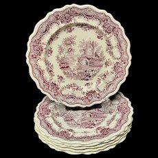 Superb set of 6 Burgundy Antiquarian Plates ~ Deer ~ 1830