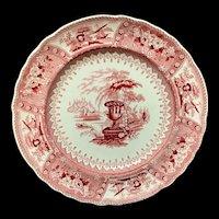 1840 ~ Red Staffordshire Large Transferware Plate ~ CANOVA