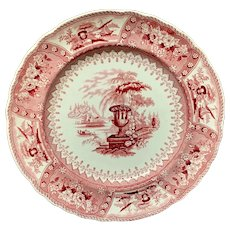 1840 ~ Red Staffordshire Large Transferware Plate ~ CANOVA