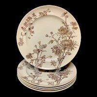 Five Aesthetic Movement Rea Plates ~ CHYSANTHEMUM ~ 1890