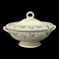 Large Ridgway NANTASKET Soup Tureen ~ Seaweed Seashells ~ 1876