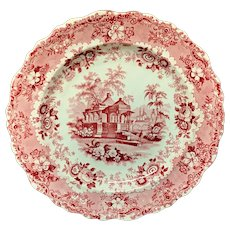 1840 ~ English Red Transferware Plate ~ ASIATIC SCENERY