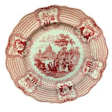 1840 ~ English Red Transferware Plate ~ BOLOGNA