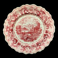 1840 ~ English Red Transferware Plate ~ CAMBRIAN