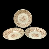 Three English Nantasket Transferware Chutney Dishes ~ Seaweed Seashells 1876
