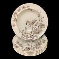 Six Aesthetic Movement Cream Soup Plates ~ CHYSANTHEMUM ~ 1890