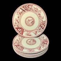 Six ~ Red Transferware Supper Plates ~ CONGO 1883