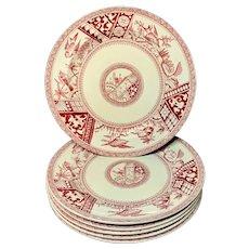 Six ~ Red Transferware Supper Plates ~ CONGO 1883