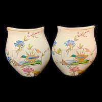 RARE SET Polychrome Transferware Moon Flasks ~ Duck TEMPLE 1882