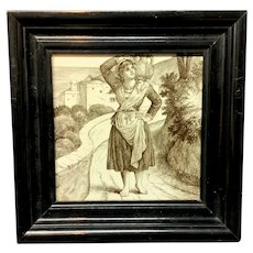 William Wise Country Life Tile ~ Woman with Water Jug1882 Cherry Frame