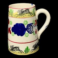 Stick Spatter Rabbitware Ironstone Tankard Mug ~ Bullseye Pattern 1900