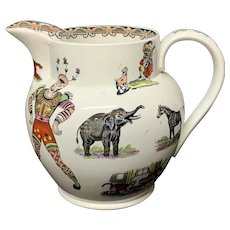ANIMALS Harlequin Clown Elsmore & Forster Jug Pitcher England c1860