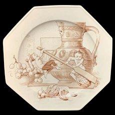 Rare Staffordshire Plate ~ Fairy Elf Fantasy Hard Nut to Crack 1880
