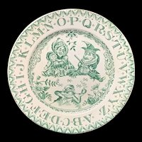 Antique Green ABC Plate ~ Punch and Judy 1890