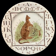 Victorian Alphabet ABC Plate ~ Kangaroo 1880
