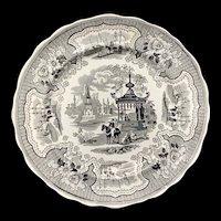 Staffordshire Black Transferware Plate ~ PALESTINE 1840