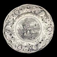 Outstanding Black Staffordshire Plate ~ Italian Buildings 1830