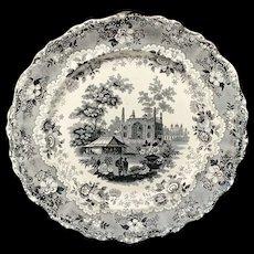 Victorian Romantic Black Transferware Plate ~ Asiatic Scenery 1835