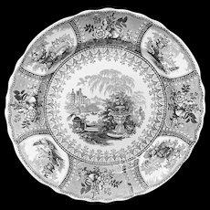 Victorian Romantic Black Transferware Plate ~ Peacock 1835