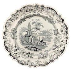 Victorian Romantic Black Transferware Plate ~ PRIORY 1835