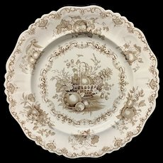 Staffordshire Brown Transferware Plate ~ FRUIT BASKET 1840