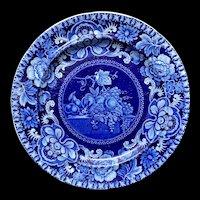 Early Staffordshire Dark Blue Transferware Plate ~ Fruit Table 1828-1830