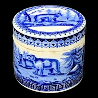 Antique Blue Transferware  BEARS GREASE Pot and Lid 1885