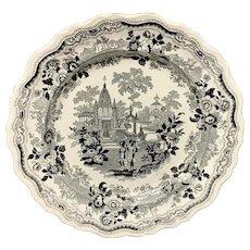 Victorian Romantic Black Transferware Plate  1835