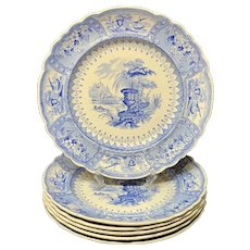 SIX Blue Staffordshire Large Transferware Plate ~ CANOVA 1840