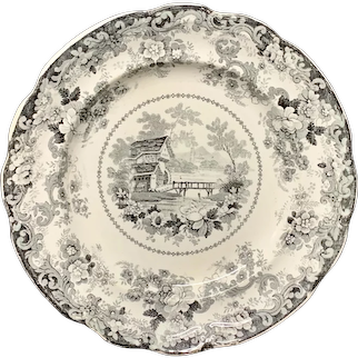 Staffordshire American Historical Fort Edward Hudson River Plate ~ 1835