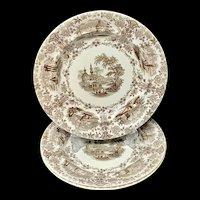 Three Brown Staffordshire Transferware Plates ~ MARMORA 1830