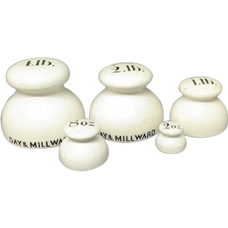 Set of 5 Victorian Ceramic Porcelain Scale Weights c1890