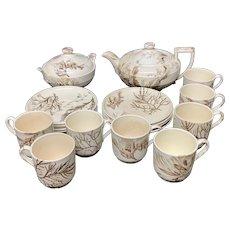 Wedgwood Staffordshire SEAWEED Brown Transferware Tea Service 1883