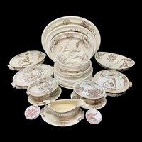 Wedgwood Staffordshire SEAWEED Brown Transferware Dinner Service 1883