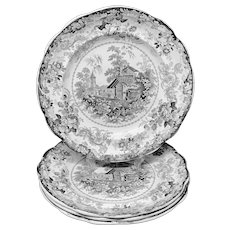 Four Early Black Transferware Plates ~ GENEVESE 1830