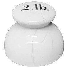 Victorian Ceramic Porcelain 2 Pound Scale Weight c1890