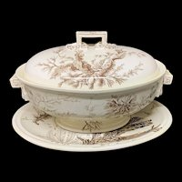 Rare Wedgwood SEAWEED Soup Tureen & Platter  ~ 1883