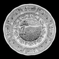 Black Transferware Plate ~ Clyde Scenery 1830