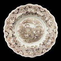 English Brown Staffordshire Bowl Plate ~ Parisian Chateau 1830