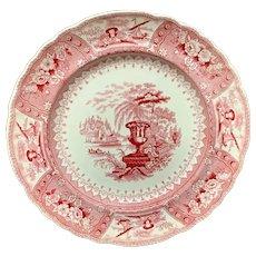 1840 ~ Large Red Staffordshire Transferware Plate ~ CANOVA