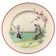 Kate Greenaway Pastime Brownfield Plate ~ 1883 Badmitton