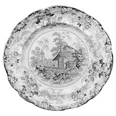 Early English Black Transferware Plate ~ GENEVESE 1830