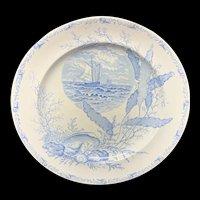 Victorian Blue Transferware Seashells Seaweed Plate ~ OCEANIC 1882