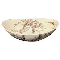 Rare Brown Wedgwood Fruit Bowl ~ SEAWEED 1883