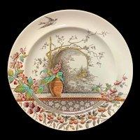 Large Polychrome Brown Transferware Plate ~ RUSTIC 1886