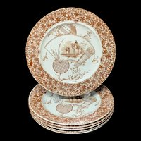 Set of 6 Aesthetic Brown Transferware Plates ~ CAIRO 1885