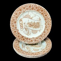 4 ~ Aesthetic Movement Era Plates ~ CAIRO 1885