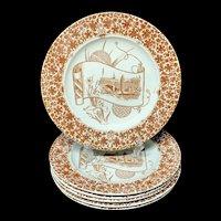 6 ~ Aesthetic Movement Era Plates ~ CAIRO 1885