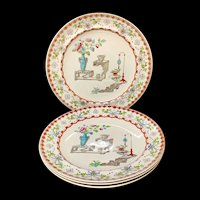 4 ~ Aesthetic Movement Era Large Dinner Plates ~ CANTON 1879