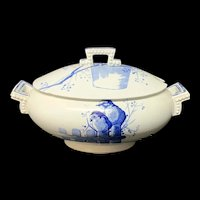 RARE Blue Staffordshire ORNITHOLOGY Soup Tureen ~ 1870